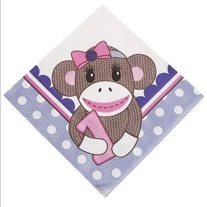 Set of 3 Miss Sock Monkey 3-PLY Luncheon Napkins